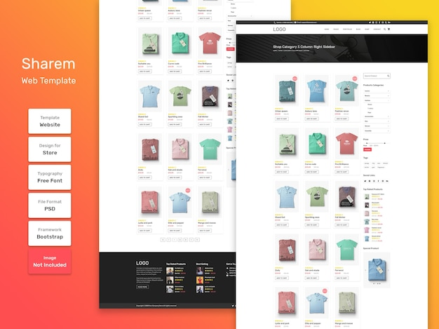 Modelo da web da página de produtos da categoria da loja de moda sharem