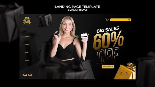 Modelo da web da sexta-feira negra com detalhes dourados