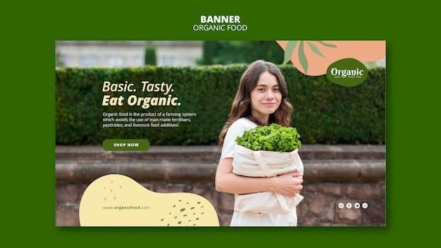 Modelo da web de banner com comida orgânica e saudável