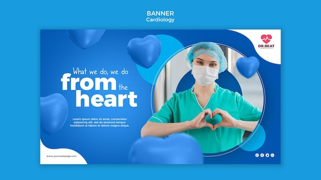 Modelo da web de banner de saúde do coração