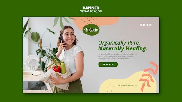 Modelo da web de banner para comer vegetais diariamente