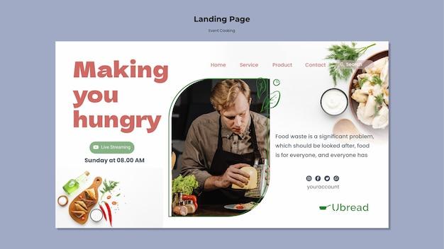 Modelo da web de culinária para eventos