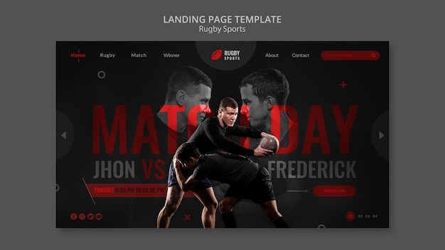 Modelo da web de esportes de rúgbi