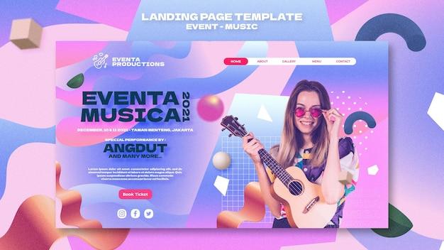 Modelo da web de evento musical em estilo retro