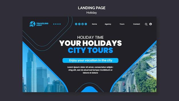 Modelo da web de férias na cidade