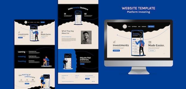 Modelo da web de investimento em plataforma