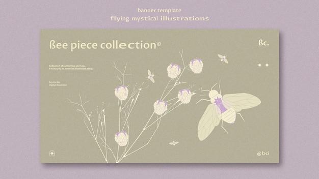 Modelo da web de mariposa mística voadora e banner de flor