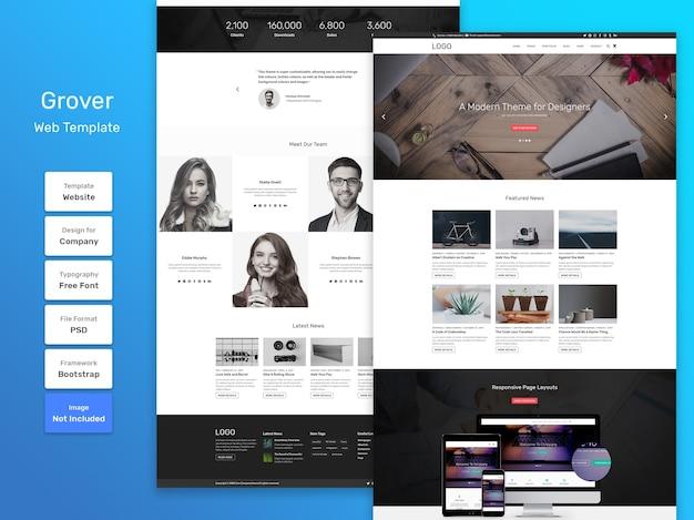 Modelo da web de negócios e agências da grover