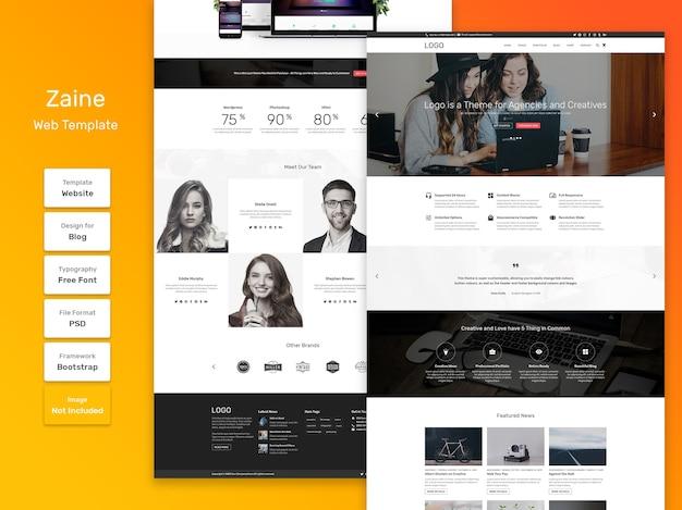 Modelo da web de negócios e agências de zaine