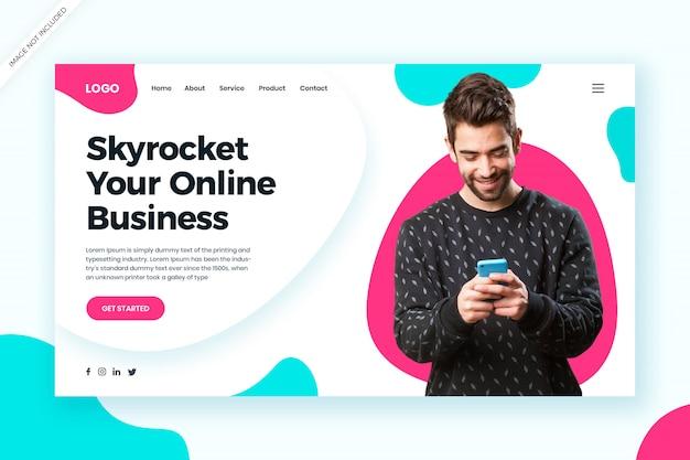 Modelo da web de negócios online multiuso e conceito da página de destino