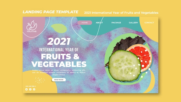 Modelo da web do ano internacional de frutas e vegetais