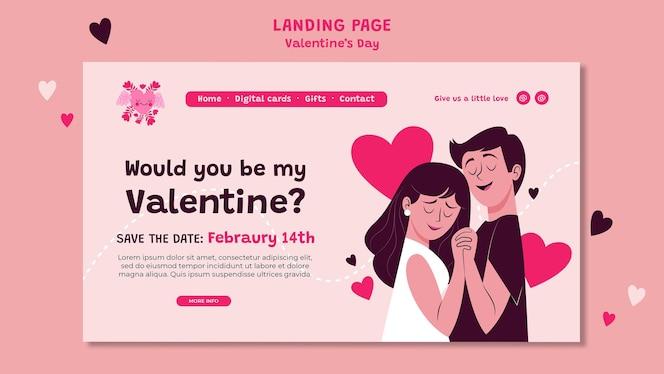Modelo da web do dia dos namorados ilustrado