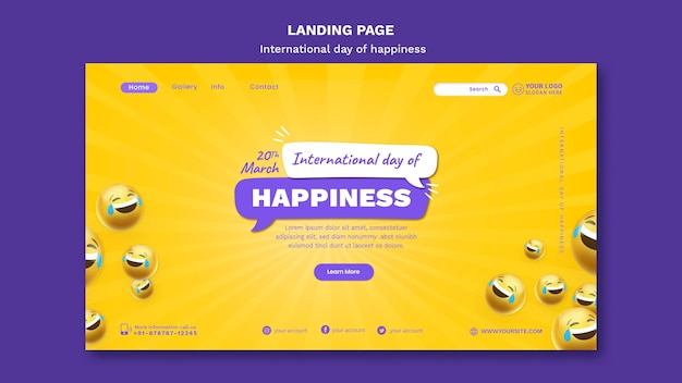 Modelo da web do dia internacional da felicidade