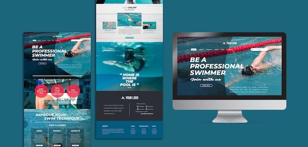 Modelo da web para aulas de natação
