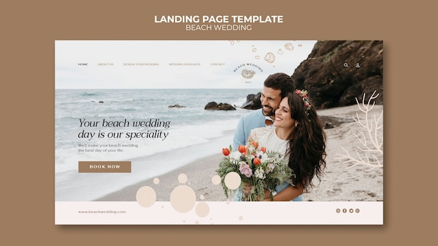 Modelo da web para casamento na praia