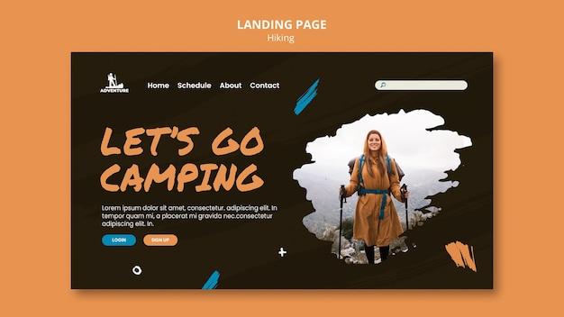 Modelo de acampamento e caminhada na página de destino