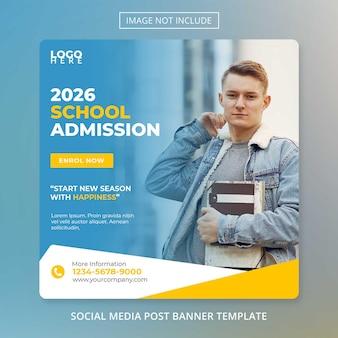 Modelo de admissão escolar de volta às aulas de mídia social post banner psd
