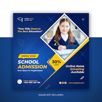 Modelo de admissão escolar para publicação em mídia social