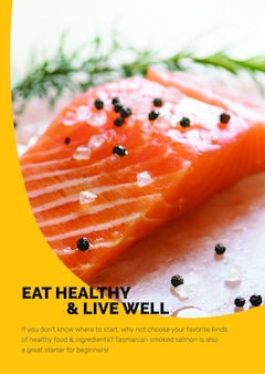 Modelo de alimentação saudável psd com salmão fresco e pôster de estilo de vida de marketing em design abstrato de memphis