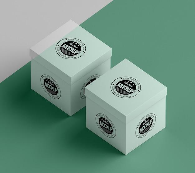 Modelo de alto ângulo da caixa de embalagem