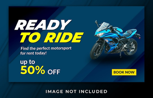 Modelo de aluguel de moto de banner de página de destino