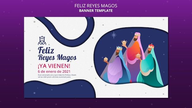 Modelo de anúncio banner feliz reyes magos