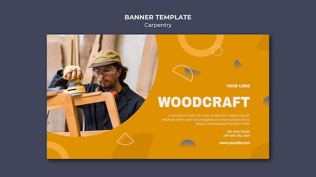 Modelo de anúncio de banner carpinteiro