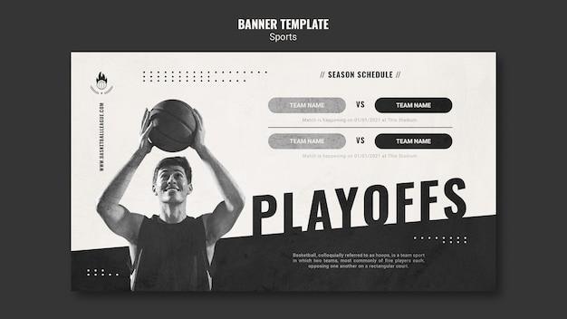 Modelo de anúncio de banner de basquete