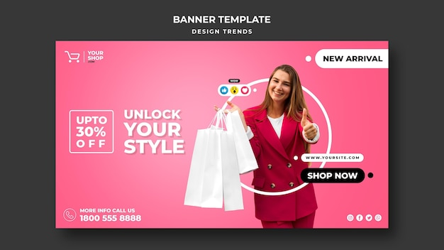 Modelo de anúncio de banner de mulher para compras