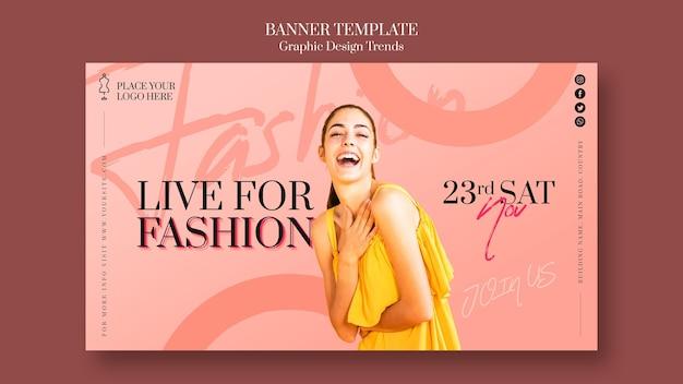 Modelo de anúncio de banner em loja de moda