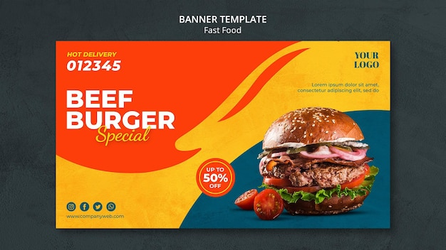 Modelo de anúncio de banner fast food
