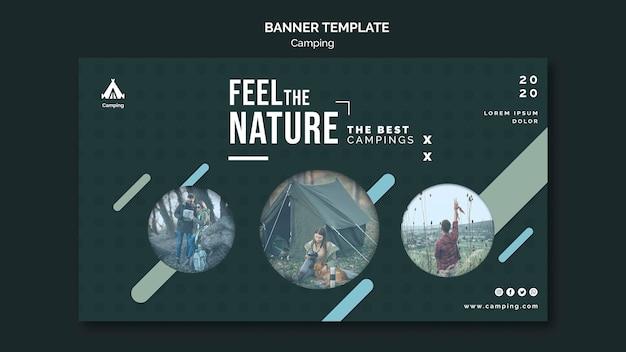 Modelo de anúncio de banner para camping