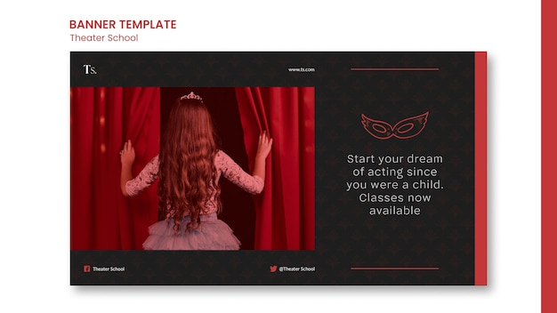 Modelo de anúncio de banner para escola de teatro