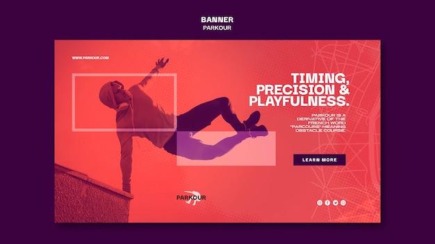Modelo de anúncio de banner parkour