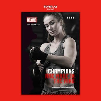 Modelo de anúncio de boxe de panfleto