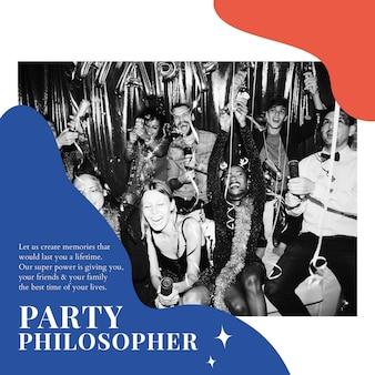 Modelo de anúncio de filósofo de festa psd evento organizando postagem em mídia social