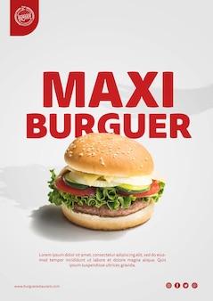 Modelo de anúncio de hambúrguer com foto