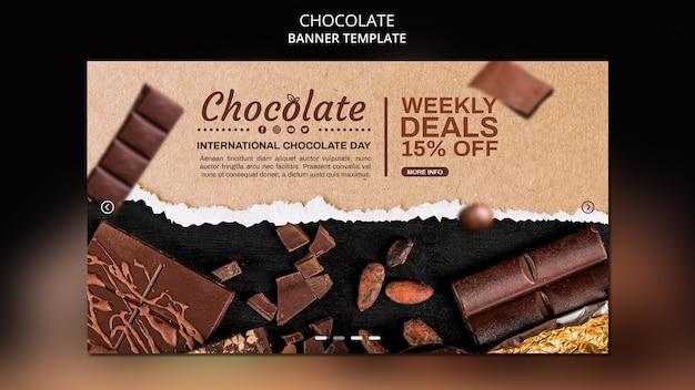 Modelo de anúncio de loja de chocolate em banner