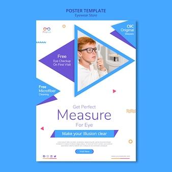Modelo de anúncio de loja de óculos em cartaz