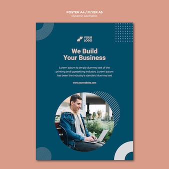 Modelo de anúncio de negócios em folheto