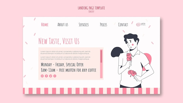 Modelo de anúncio de padaria na página de destino