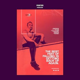 Modelo de anúncio de parkour em cartaz