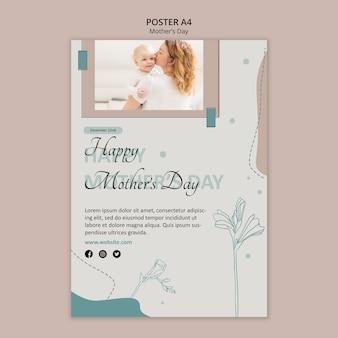 Modelo de anúncio de pôster para o dia das mães