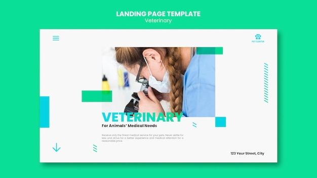 Modelo de anúncio veterinário da página de destino