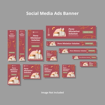 Modelo de anúncios de mídia social minimalista