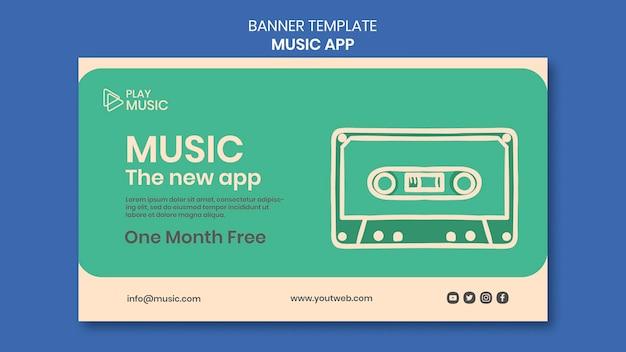 Modelo de aplicativo de música de banner