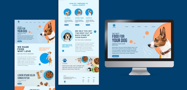Modelo de aplicativo e site de comida de cachorro