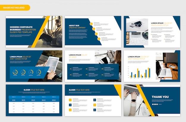 Modelo de apresentação de visão geral de negócios e projetos corporativos