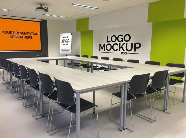 Modelo de apresentação do office com o logo mockup