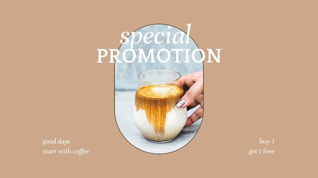 Modelo de apresentação psd de promoção especial para marketing de padaria e café